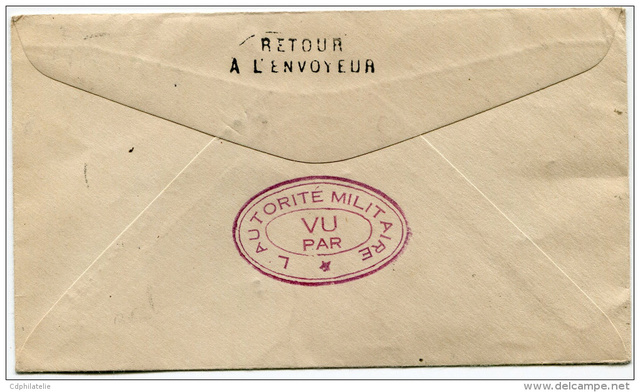 """Lettre locale de Pondichery de 1942 avec au verso un cachet """"Gouvernement de l'Inde Française"""". 623_0010"""
