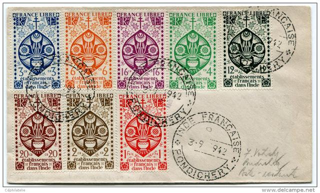 """Lettre locale de Pondichery de 1942 avec au verso un cachet """"Gouvernement de l'Inde Française"""". 623_0011"""