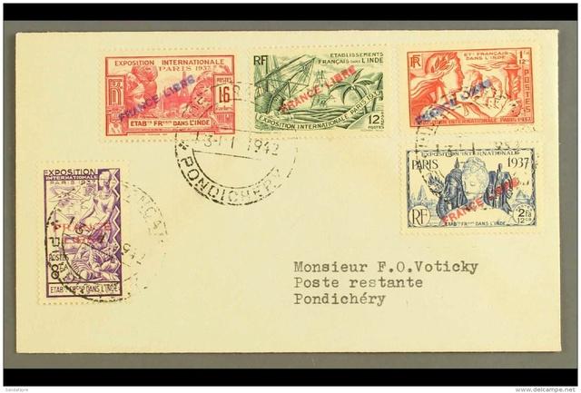 """Lettre locale de Pondichery de 1942 avec au verso un cachet """"Gouvernement de l'Inde Française"""". 961_0010"""