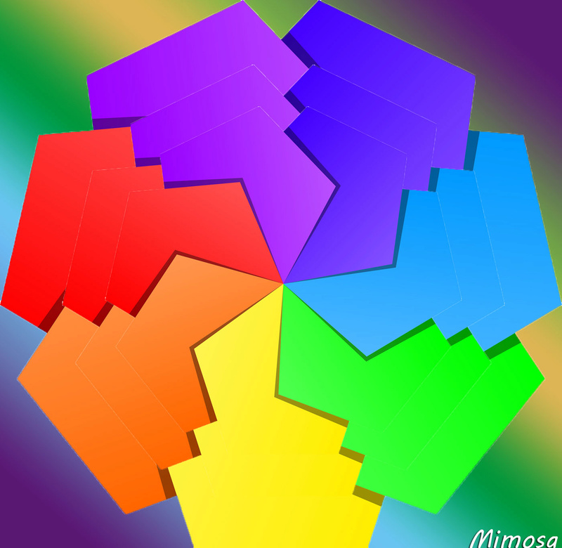 Puzzle #0340 / Colorful geometric abstract #11 by Mimosa Colorf17