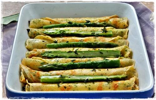 Sigari di crespelle con punte di asparagi al forno Sigari10