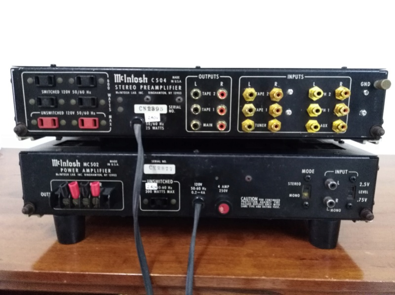 mcintosh c504 mc502 pre and power amplifier sold