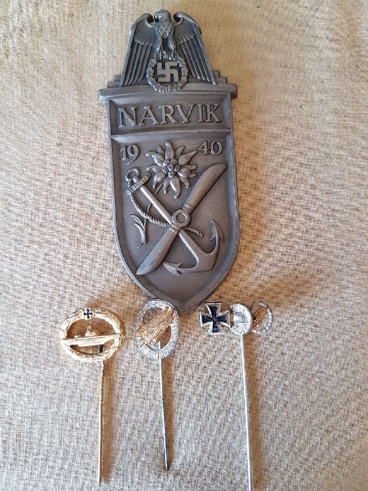 brocante normande , plaque Narvok et épingles cravate Resize21