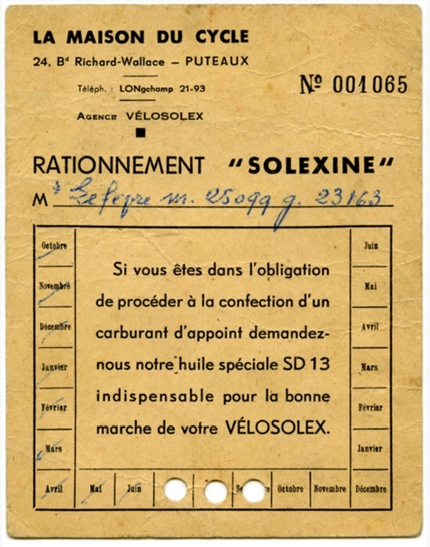 Quand la solexine était rationnée Ration10