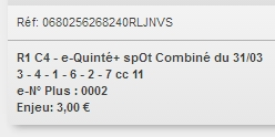 31/03/2018 --- CHANTILLY --- R1C4 --- Mise 3 € => Gains 0 € Scree656