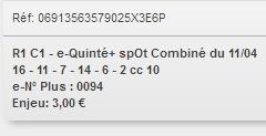11/04/2018 --- LYON LA SOIE --- R1C1 --- Mise 3 € => Gains 0 € Scree701