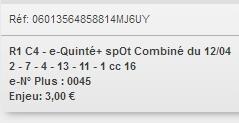 12/04/2018 --- AUTEUIL --- R1C4 --- Mise 3 € => Gains 0 € Scree709