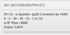 14/04/2018 --- VINCENNES --- R1C4 --- Mise 3 € => Gains 0 € Scree717