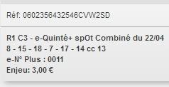 22/04/2018 --- AUTEUIL --- R1C3 --- Mise 3 € => Gains 0 € Scree750