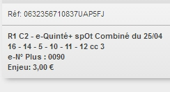 25/04/2018 --- AGEN LA GARENNE --- R1C2 --- Mise 3 € => Gains 3,1 € Scree762