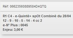 28/04/2018 --- AUTEUIL --- R1C4 --- Mise 3 € => Gains 0 € Scree776