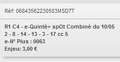 10/05/2018 --- LYON-PARILLY --- R1C4 --- Mise 3 € => Gains 0 € Scree819