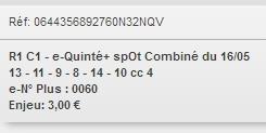 16/05/2018 --- CAEN --- R1C1 --- Mise 3 € => Gains 1,8 € Scree844