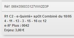 18/05/2018 --- VINCENNES --- R1C2 --- Mise 3 € => Gains 0 € Scree853