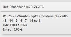 22/05/2018 --- MAISONS-LAFFITTE --- R1C3 --- Mise 3 € => Gains 0 € Scree871
