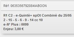 25/05/2018 --- VINCENNES --- R1C2 --- Mise 3 € => Gains 0 € Scree883