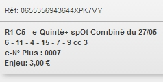 27/05/2018 --- LONGCHAMP --- R1C5 --- Mise 3 € => Gains 174,4 € Scree890