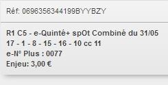 31/05/2018 --- LONGCHAMP --- R1C5 --- Mise 3 € => Gains 0 € Scree907