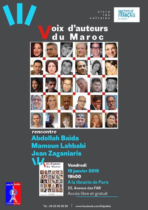 19/01 - Rencontre  Abdellah Baida, Jean Zaganiari et Mamoun Lahbabi Librairie de Paris 25 boulevard des FAR à El Jadida 19 heures 26804510