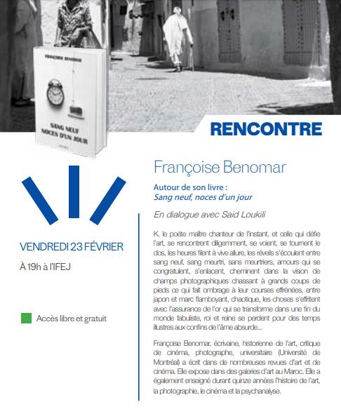 """23/02 - Rencontre :  Françoise Benomar  """"Sang neuf, noces d'un jour""""  Médiathèque Driss-Chraïbi  19 heures Benoma10"""