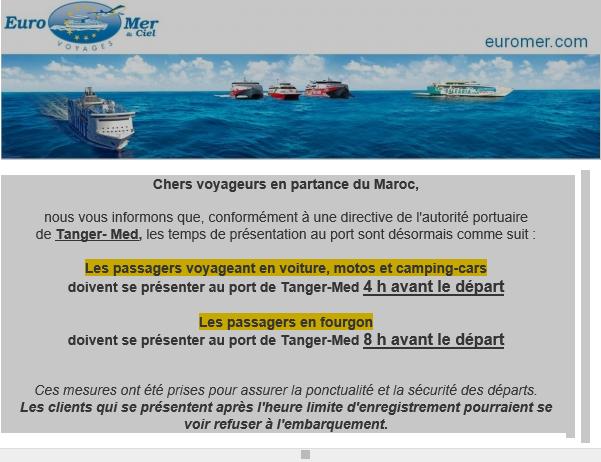 Important : modifications départs ferry de Tanger-Med Eurome10