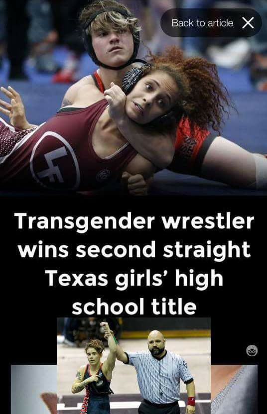 Boy wins Texas girls wrestling title 2nd year in a row.  Transg10