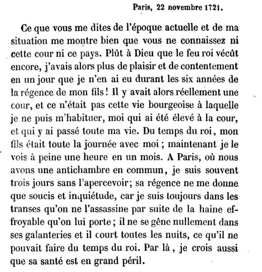 22 novembre 1722: Correspondance de La Palatine  1284