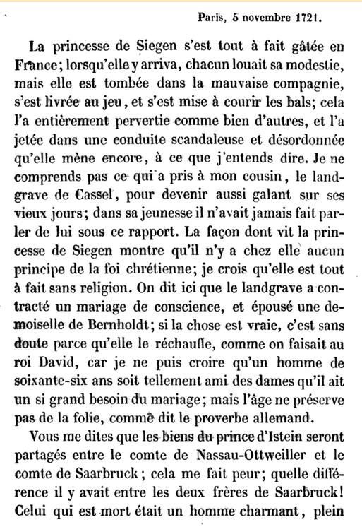 05 novembre 1722: Correspondance de La Palatine  1285