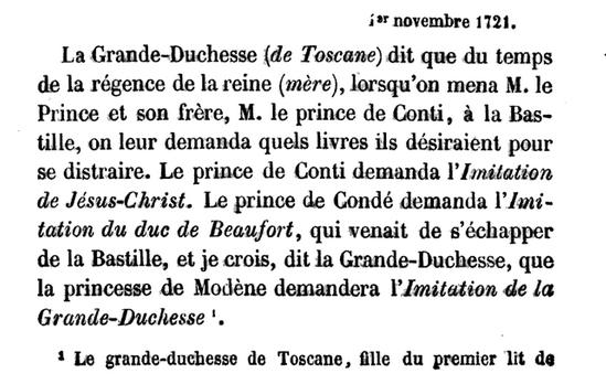1er novembre 1721: Correspondance de La Palatine 1286