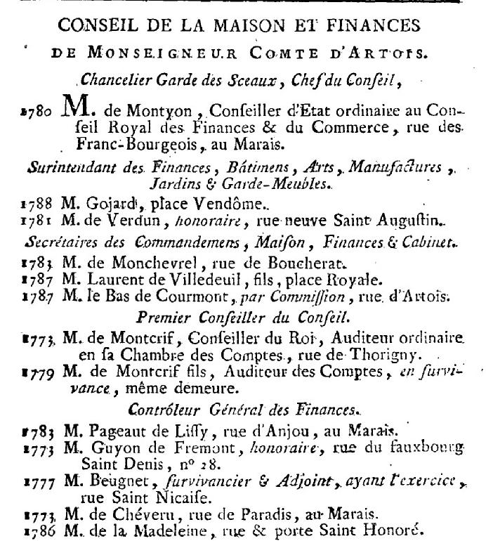 Artois - 1er janvier 1789: Maison de Monseigneur le Comte d'Artois 530