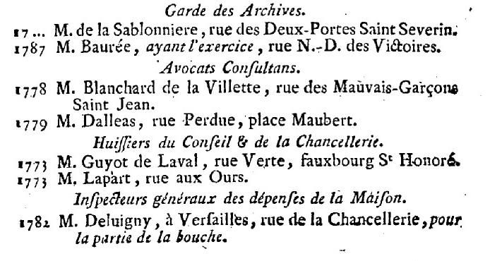 Artois - 1er janvier 1789: Maison de Monseigneur le Comte d'Artois 818