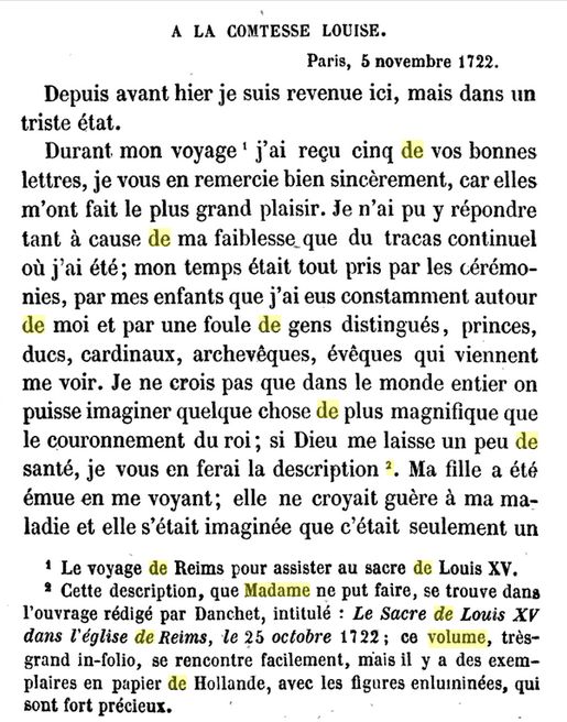 05 novembre 1722: Correspondance de La Palatine Avril44