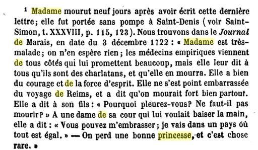 29 novembre 1722: Correspondance de La Palatine Capt1201