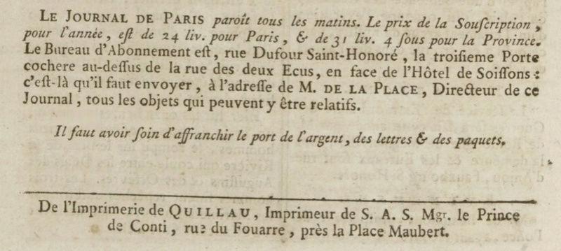 1er janvier 1777: Premier numéro pour Le Journal de Paris Captu156