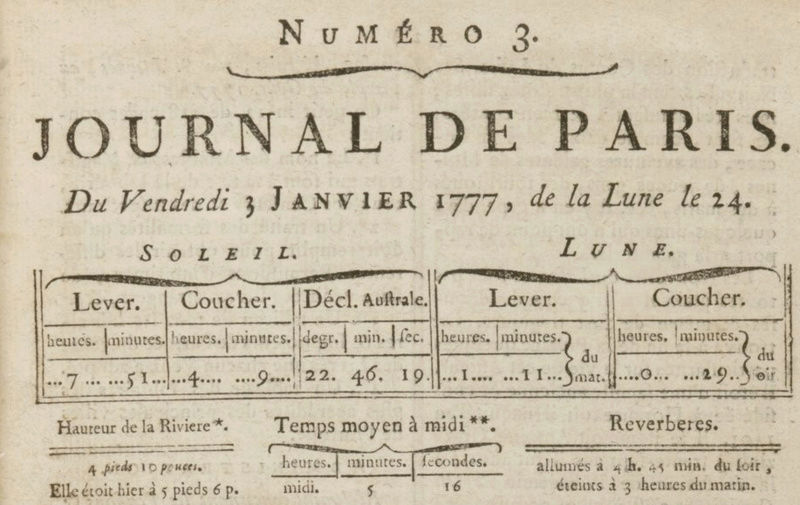 03 janvier 1777: Almanach Captu162