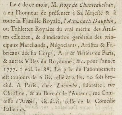 06 janvier 1777: Almanach Captu190