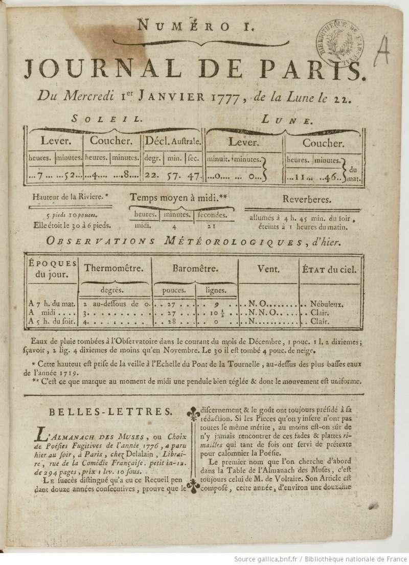 1er janvier 1777: Premier numéro pour Le Journal de Paris Journa25