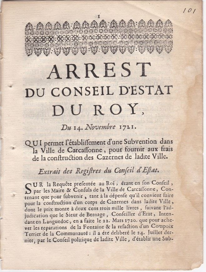 14 novembre 1721: Arrest du Conseil du Roy Ob_b9210