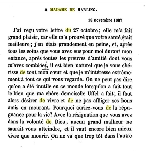 18 novembre 1687: Correspondance de La Palatine Signat44
