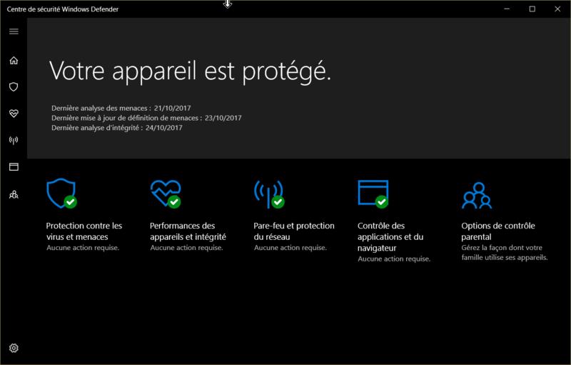 Windows defender paramètre grisé Icone210