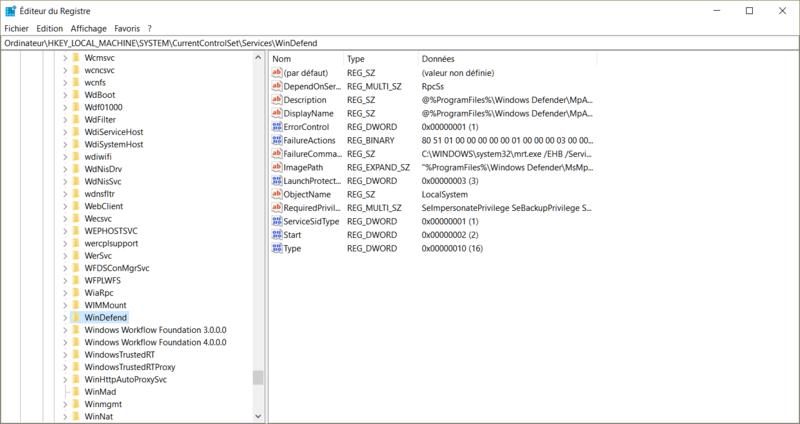 Windows defender paramètre grisé Reg10