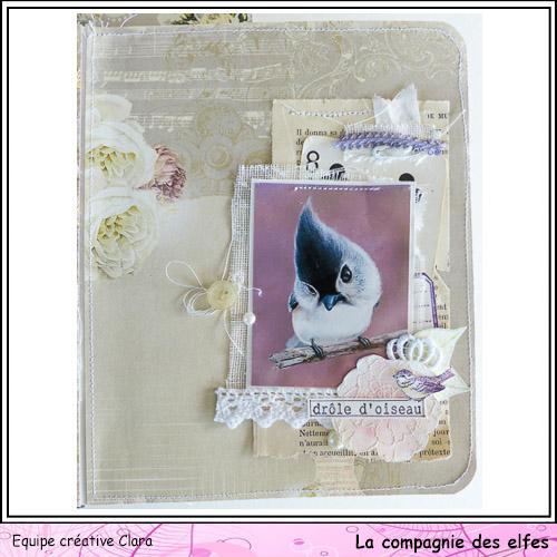 Mini album dentelles et vieux papiers par Clara. Clara176
