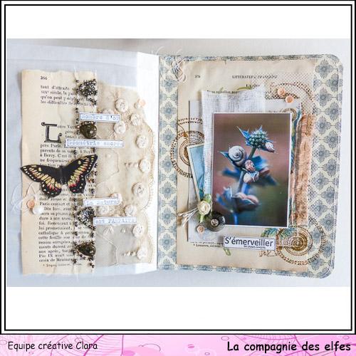 Mini album dentelles et vieux papiers par Clara. Clara182