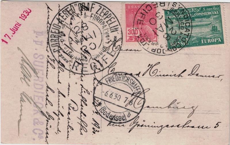 """nach - Südamerikafahrt 1930 (Rundfahrt-) Post nach Friedrichshafen"""" - Seite 7 Stempe12"""