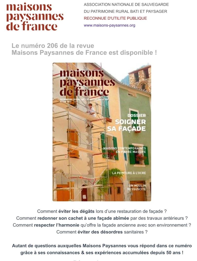 Soigner sa façade : les conseils dans le nouveau numéro de la revue Maisons Paysannes ! 116