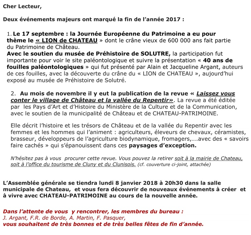 Laissez-vous conter ... le village de Château et bilan 2017 de Château Patrimoine 119