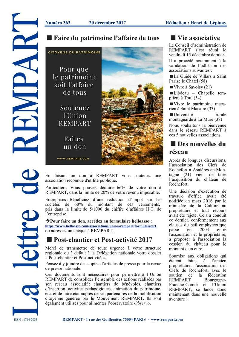 La lettre de REMPART n°363, décembre 2017 120