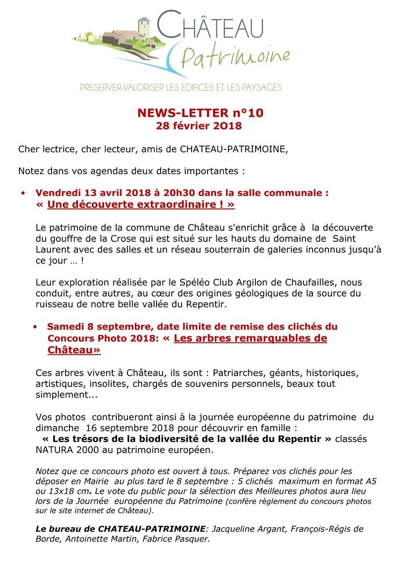 CHATEAU-PATRIMOINE NEWS-LETTER n°10 143
