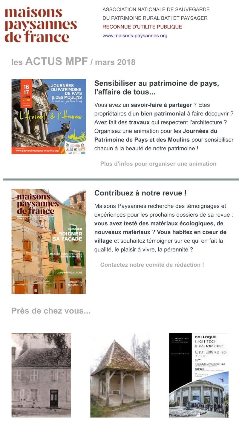Lettre d'info Maisons Paysannes de France - mars 2018 145