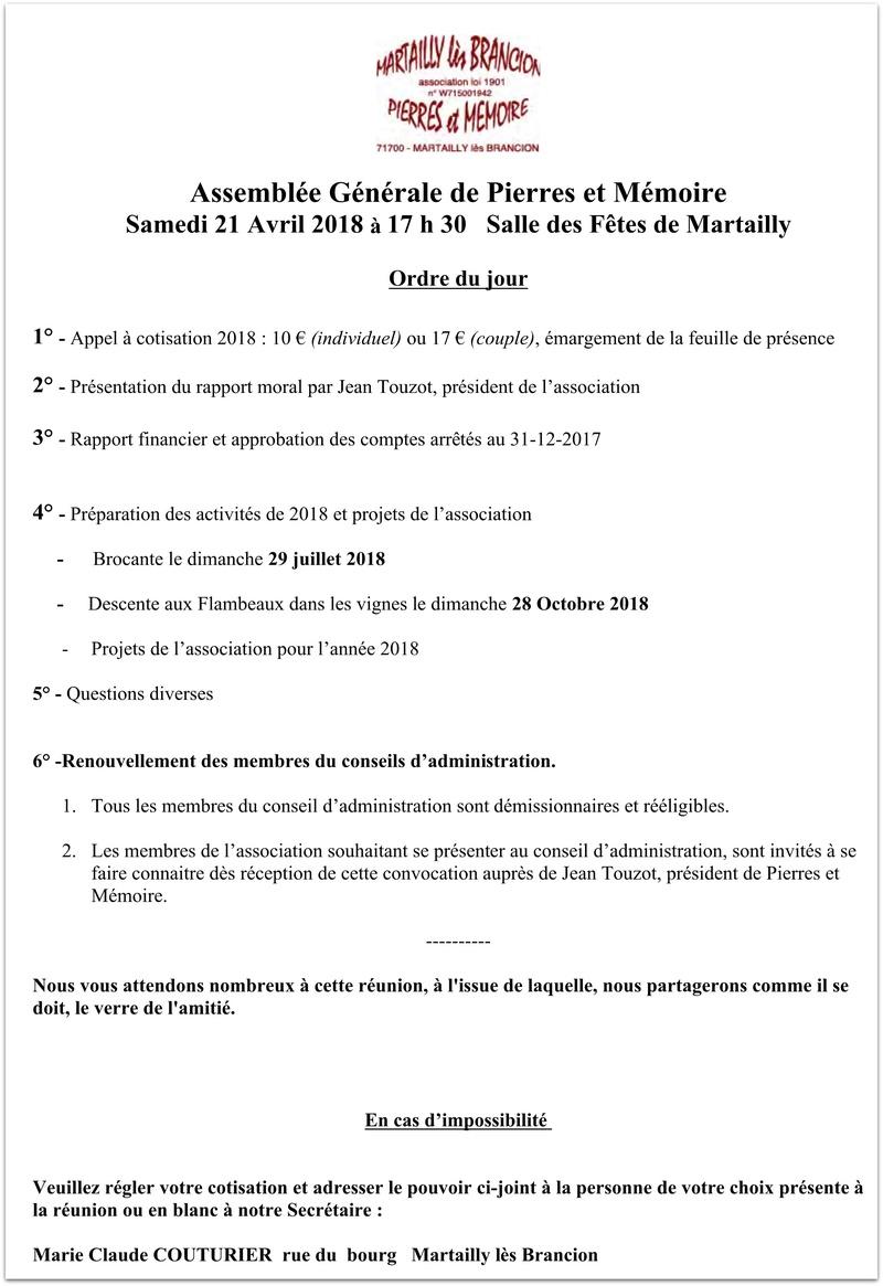 Assemblée Générale de Pierres et Mémoire Samedi 21 Avril 2018 à 17 h 30 Salle des Fêtes de Martailly 150